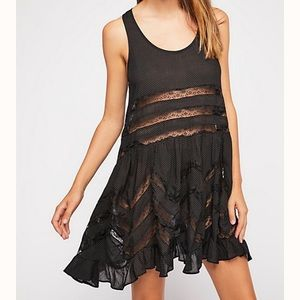 Free people Voile and lace trapeze slip S